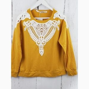 New Long Sleeve Mustard Embroidered Details Top L